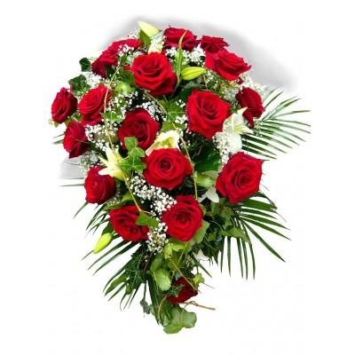 Slza - červené růže a břečťan +3 390 Kč